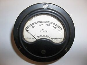 Vintage Burlington Dc Volts Meter 0 300 Model 431