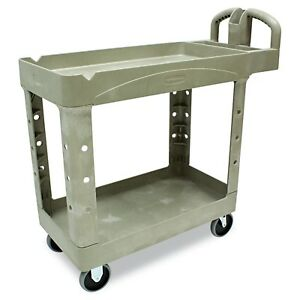 Rubbermaid Commercial Fg450088beig Heavy duty Service Cart With Lipped Shelve