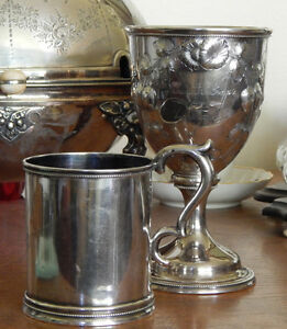 Mid 19th C American Coin Silver Goblet Fruit Flowers For Everest Ny