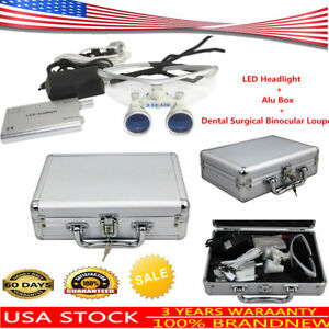 Dental Surgical Medical Binocular Loupes 3 5x 420mm Led Head Light Lamp alu Box