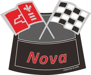 Nova Flags Chrome Air Cleaner Decal Chevy Chevrolet Air Cleaner New Red