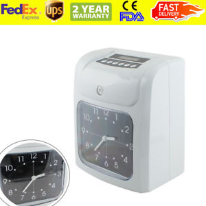 Electronic Employee Analogue Time Recorder Clock lcd W card Monthly weekly
