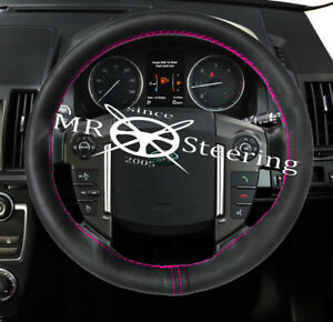 Fits 99 09 L Rover Discovery Leather Steering Wheel Cover Hot Pink Double Stitch
