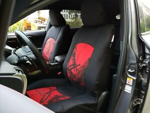 Camo Seat Cover Set For Cars Trucks Suvs Tacoma Black Red Airbag Compatible