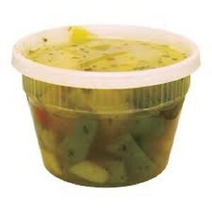 Case Of 240 Plastic Deli Food Container 16 Oz Delitainer With Lids