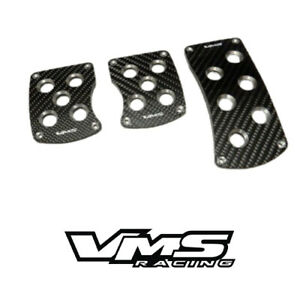 Vms Racing Black Carbon Fiber Pedal Pad Cover Kit Manual Transmission Mt 3pc 3