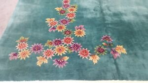 Antique 9 X 12 Art Deco Chinese Rug Vintage Green