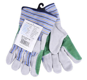 Split Cow Leather Work Glove Double Palm Reinforced Garden Safety Glove 6 Pairs