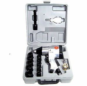 16 Pc 1 2 Drive Air Impact Wrench With 10 1 2 Dr Sockets 1 Extension Bar Oiler