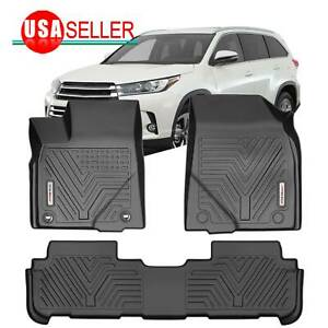 All Weather Floor Mats For 2014 2019 Toyota Highlander Front Rear 2 Rows Black