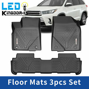 Floor Mats Liners For 2014 2019 Toyota Highlander Heavy Duty Rubber All Weather