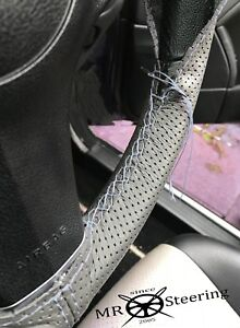 Grey Perforated Leather Steering Wheel Cover For Mercedes Vito Mk1 Double Stitch