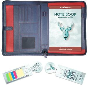 Leather Portfolio Zippered Closure Tablet Sleeve W Bookmarks Writing Pad blue