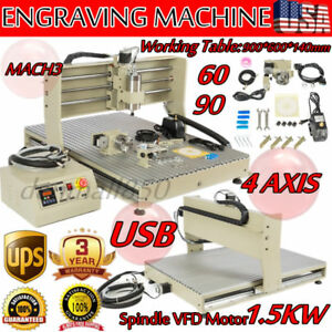 Usb 4 Axis 1 5kw Vfd Engraver 6090t Cnc Router Metalworking Engraving Machine Us