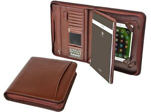 Brown Zippered Pu Leather Pad portfolio Organizer Tablet Sleeve Document Folder