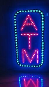 Oblong 13 x22 Atm Led Animated Flashing Red Blue Sign Light Max Nib