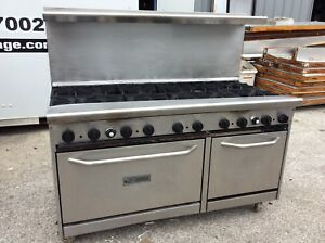 60 Saturn Commercial 10 Burner Gas Range 2 Standard Ovens