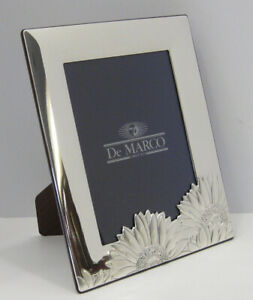 Italian Silver Laminate Shiny Matte Sunflower 6 X 8 Photo Picture Frame