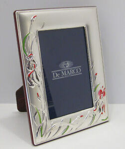 Italian Silver Laminate Matte Red Green Floral 4 X 6 Photo Picture Frame