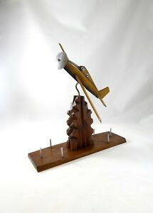 French Art Deco Streamline Airplane Wooden Aviation Sculpture Antique Fighter