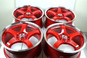17 Red Wheels Rims Rsx Civic Accord Soul Mazda 3 5 6 Camry Protege 5x100 5x114 3