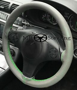 Fits Vw New Beetle Grey Perforated Leather Steering Wheel Cover Green Double Stt