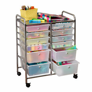 Rolling Cart Drawers Office Home Organizer School Storage Doublewide 12 Drawer