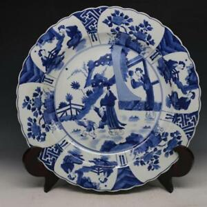 China Antique Porcelain Qing Kangxi Blue White Baby Woman Character Plates