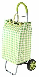 Trolley Dolly Basket Weave Tote Green Shopping Grocery Foldable Cart Picnic Bea