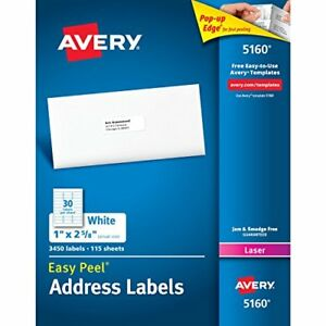 Avery Easy Peel Address Labels For Laser Printers 1 X 2 5 8 Inches Box Of 3 45