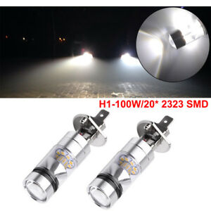 2pcs H1 100w Led 20 Smd Projector Fog Driving Drl Light Bulb 6000k White 12 24v