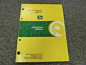 John Deere 755 855 955 Compact Utility Tractor Owner Operator Manual Omm95303