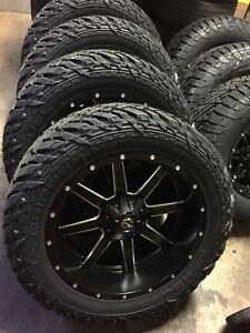 22x10 Fuel Maverick D538 Black Wheel Tire Package 33 Mt 5x150 Toyota Tundra