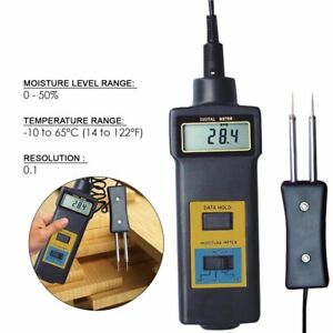 Mc 7806 Digital Moisture Meter Thermometer Wood Cotton Paper