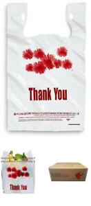 1000ct Red Daisy Flower Thank You Large T shirt Carry Out Bags Plastic Grocery