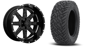 22x10 Tuff T15 Black Wheel And Tire Package 33 Fuel Mt 6x5 5 Chevy Gmc