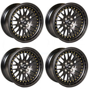 4 New 15 Mst Mt10 Wheels 15x8 4x100 25 Black Gold Rivet Rims
