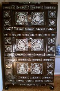 Korean Cabinet 69 High Chest Mother Of Pearl Asian Oriental Local Pickup