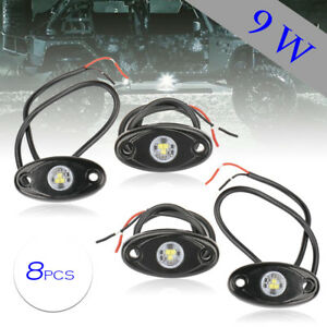 8pcs 9w White Led Rock Light For Jeep Pickup Truck Under Body Trail Rig Lamp