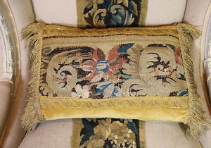 17th Century Flemish Verdure Tapestry Aubusson Cushion Flowers