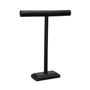 Tall Single T bar Necklace Jewelry Display In Black Velvet 18 Inches