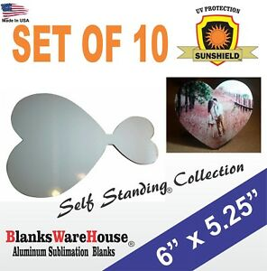 Heart Shaped Sublimation Photo Blank Self Standing With Attached Stand 10pc