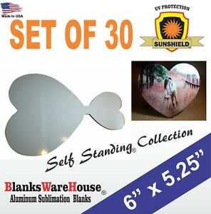 Heart Shaped Sublimation Photo Blank Self Standing With Attached Stand 30pc