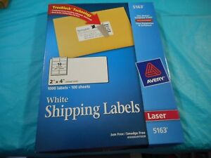 Avery Label 4 w X 2 h 1000 No Of Labels Pk100 White Paper 5163