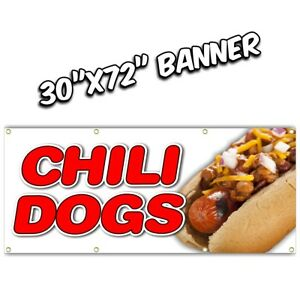 Chili Dogs Banner Deep Fried French Fries Fish Fry Hot Dog Burger Nachos 30x72