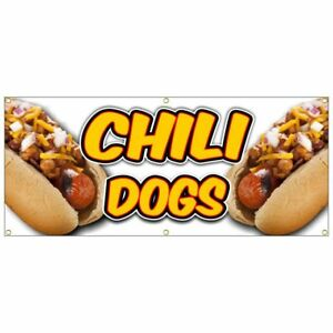 Chili Dog Banner Deep Fried French Fries Fish Fry Hot Dog Nachos Yellow 20x48
