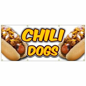 Chili Dog Banner Deep Fried French Fries Fish Fry Hot Dog Nachos Yellow 30x72