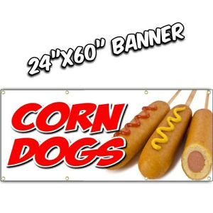 Corn Dogs Banner Deep Fried Chicken Tenders French Fries Chili Dog Nachos 24x60