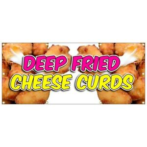 Deep Fried Cheese Curds Banner Chicken Tenders Fries Chili Dog Nachos 36x84