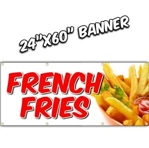 French Fries Banner Deep Fried Chili Dog Tenders Chicken Nachos Lemonade 24x60